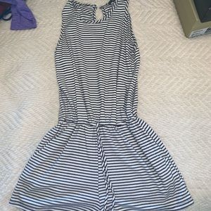 Pants - Black and White Striped Romper